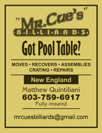 Mr Cue's Billiards - Moves - Recovers - Assemblies - Crating - Repairs